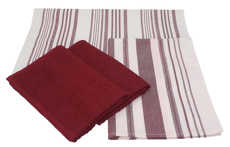 BETZ Lot de 4 torchons de Cuisine essui-Verres 2 torchons 50 x 50 cm et 2 torchons 50 x 70 cm 100/% Coton Denmark Couleur Rouge fonc/é