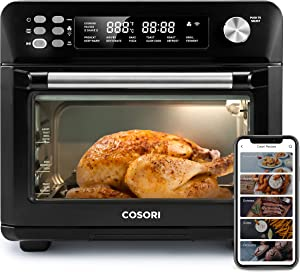COSORI Smart 12-in-1 Air Fryer Toaster Oven Combo, Countertop Dehydrator for Chicken, Pizza and Cookies, Christmas Gift, Recipes & Accessories Included, Work with Alexa, 25-L, Black