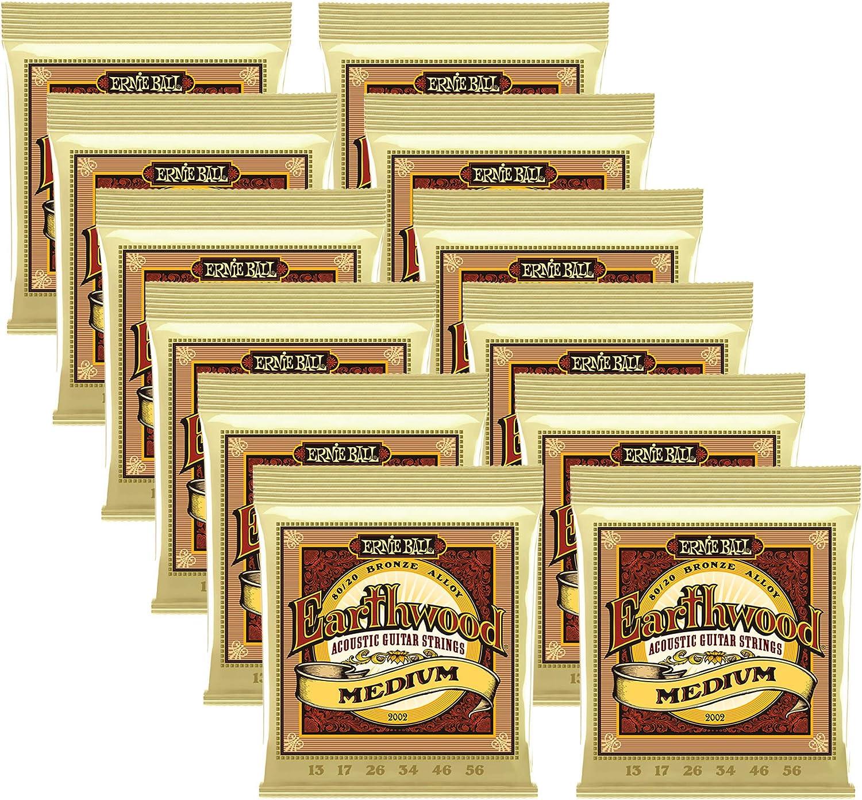 Ernie Ball 2002 Earthwound MEDIUM 80//20 Acoustic Guitar Strings 13-56 2 Sets