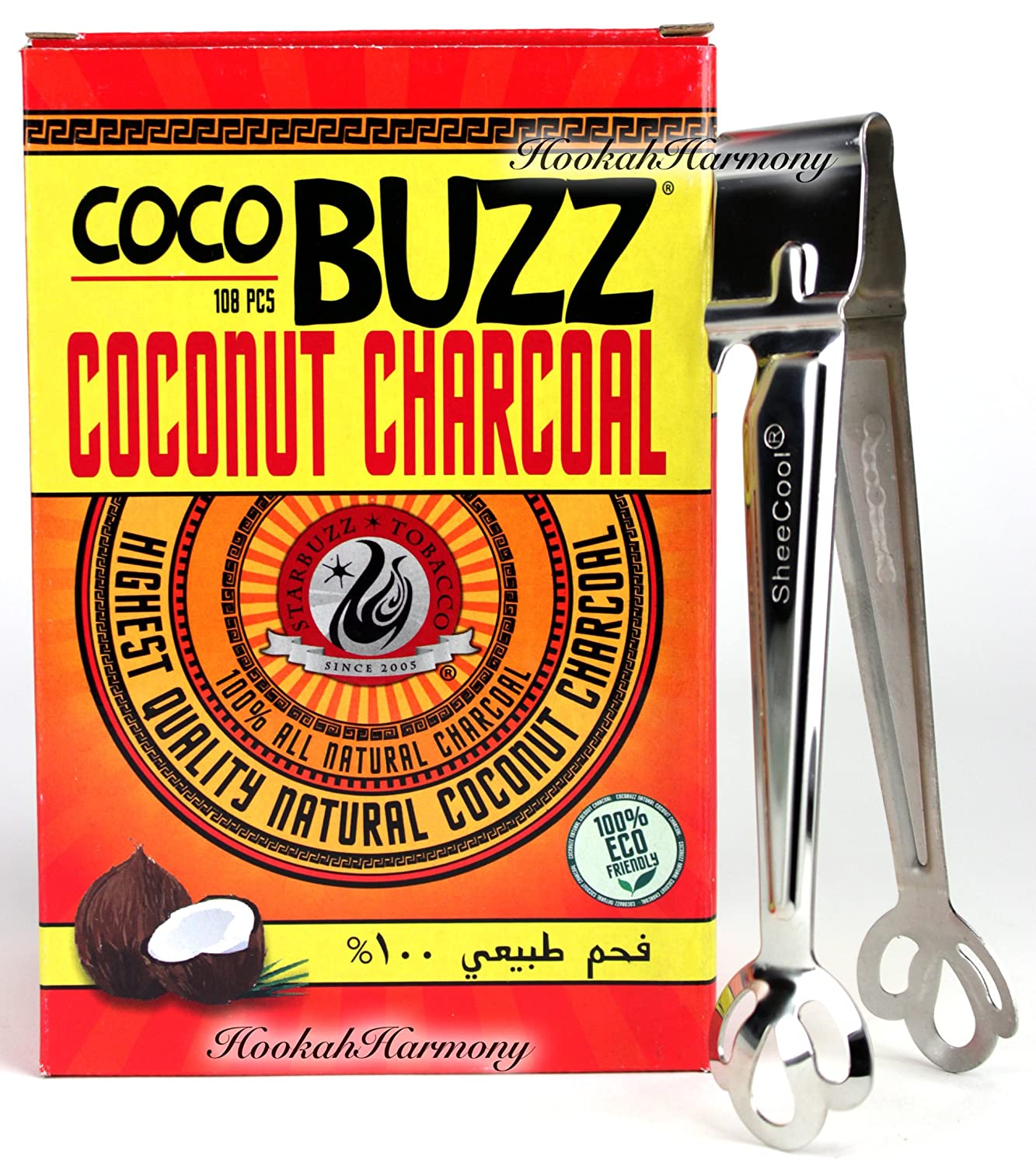 Starbuzz Cocobuzz Coconut Charcoal 108 Pcs BONUS Sheecool Tongs