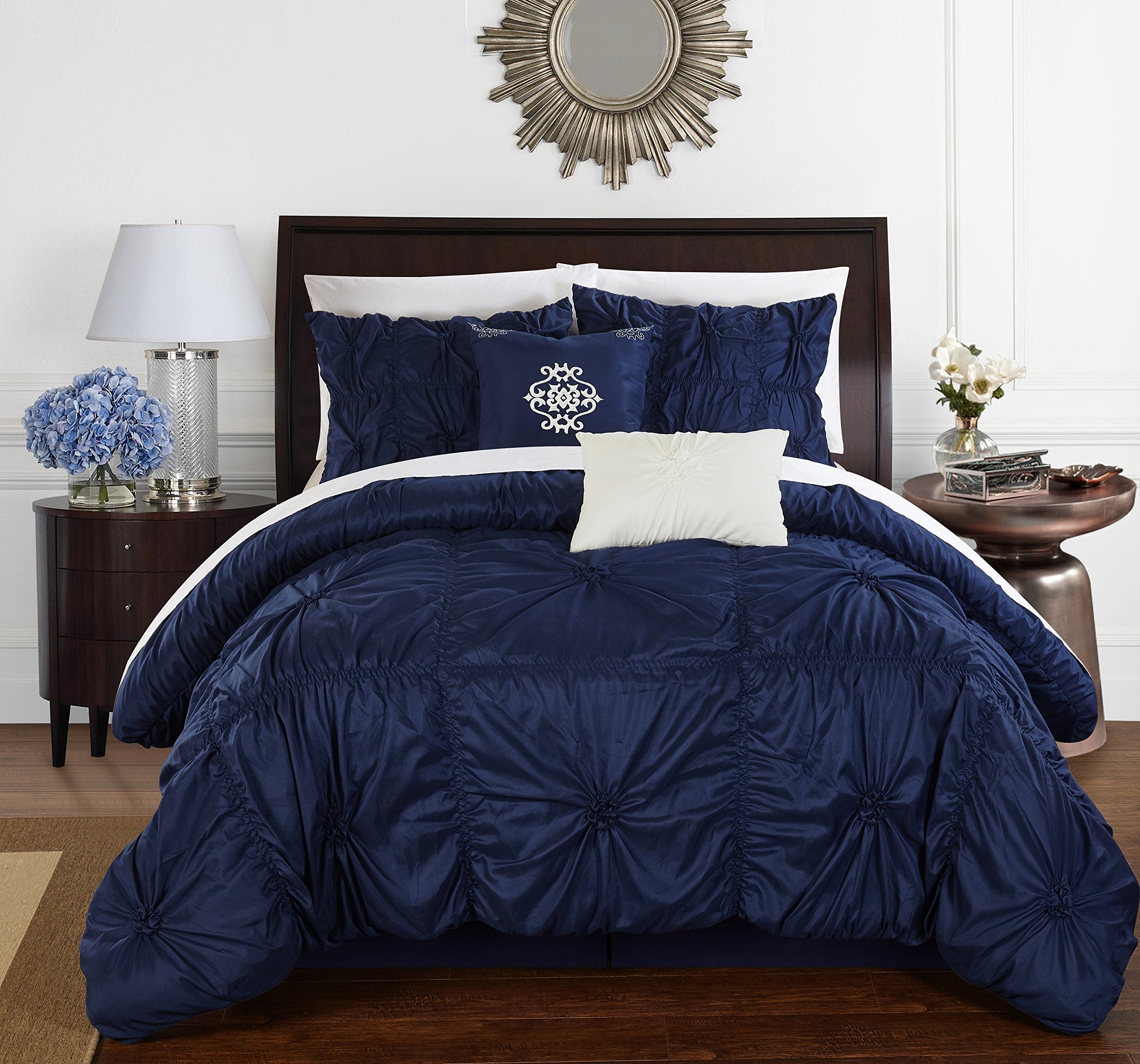 Chic Home Halpert 6 Piece Comforter Set Floral Pinch Pleated Ruffled Designer Embellished Bedding with Bed Skirt and Decorative Pillows Shams Included, Queen Navy by Chic Home