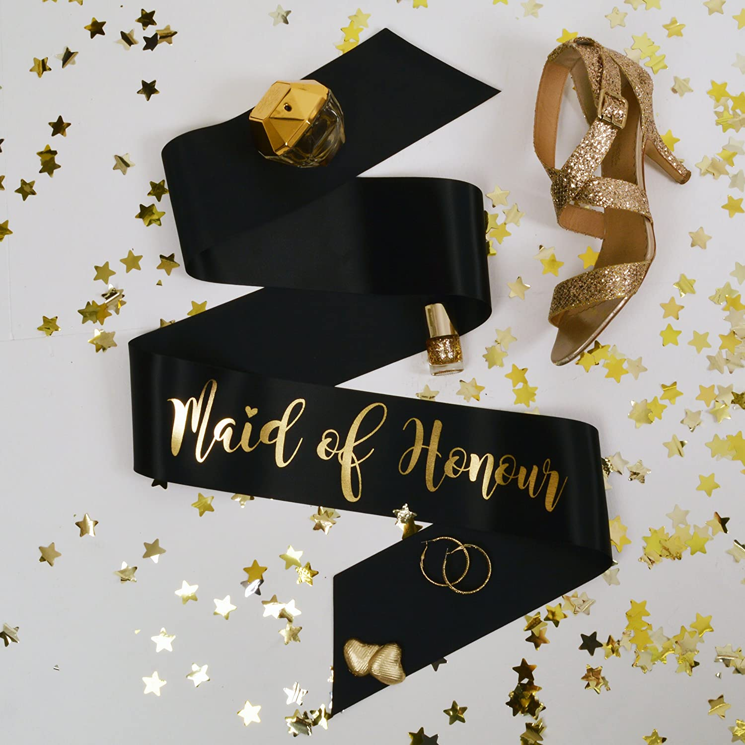 All Tied Up UK Ltd - Maid of Honour Hen Party Sash - Black and Gold Classy Hen Party Sashes - Team Bride Hen Party Range