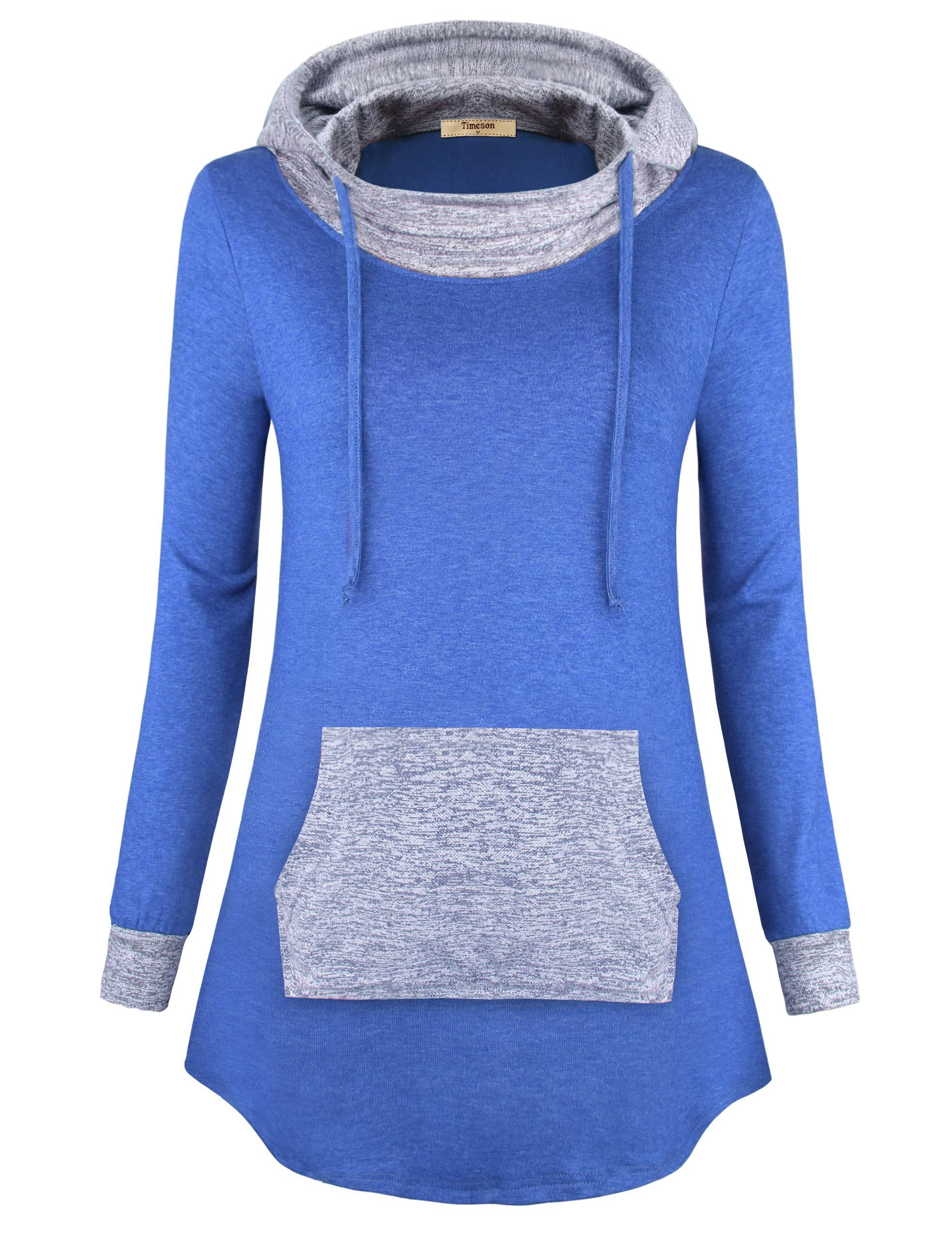 Timeson Loose Hoodies for Women, Woman Plus Size Hoody Tunics Cowl Neck Thin Sweatshirts Wear to Work Fashion Comfy Tunic Hoodies Shirt for Casual Business Work Blue Medium
