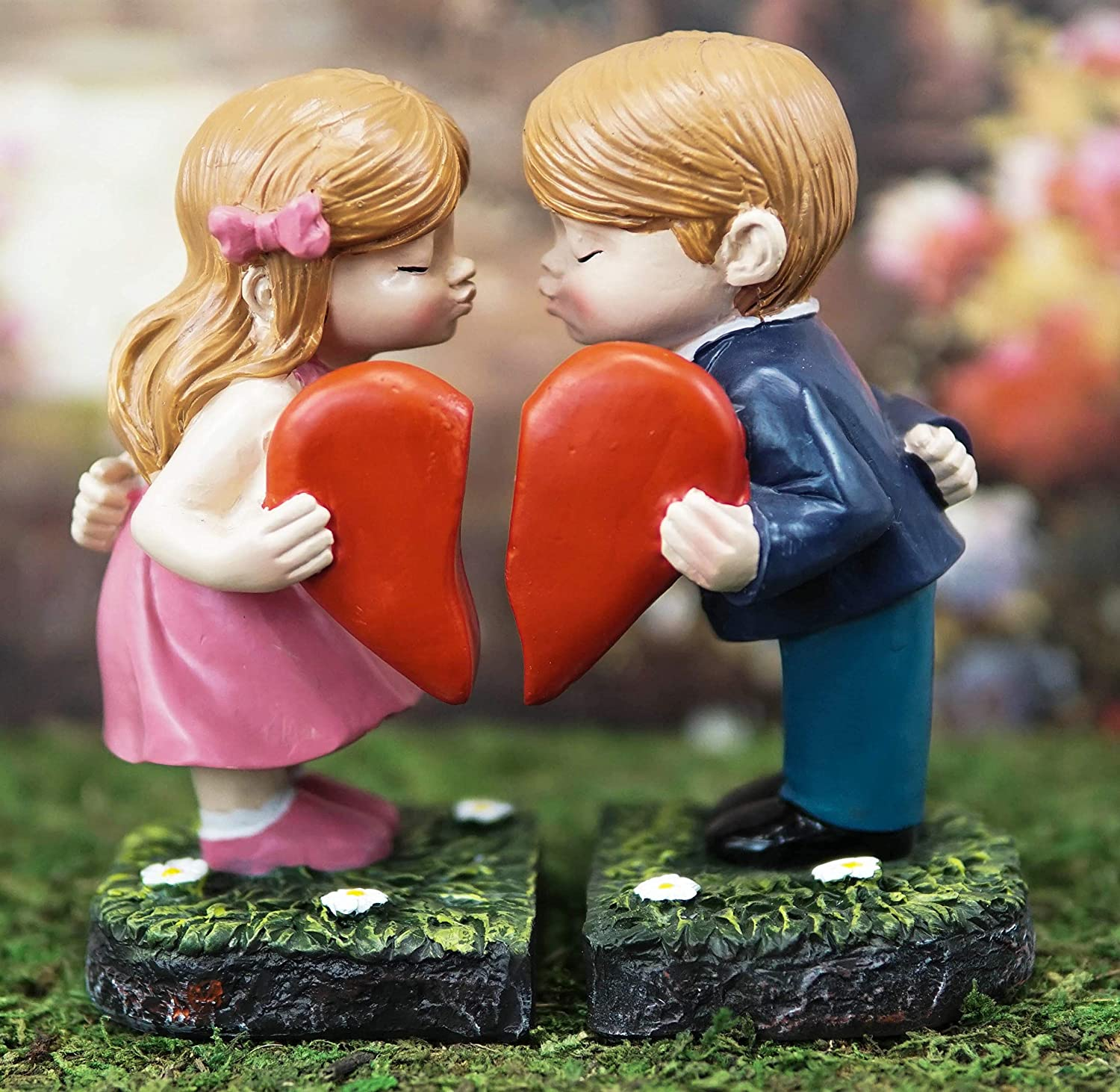 Ebros Gift 'Love at First Sight' Romantic Boy in Blue Suit and Girl with Pink Dress Couple Kissing and Holding A Split Giant Red Heart Statues Set of 2 Home Decor Figurines Anniversary Valentines Day
