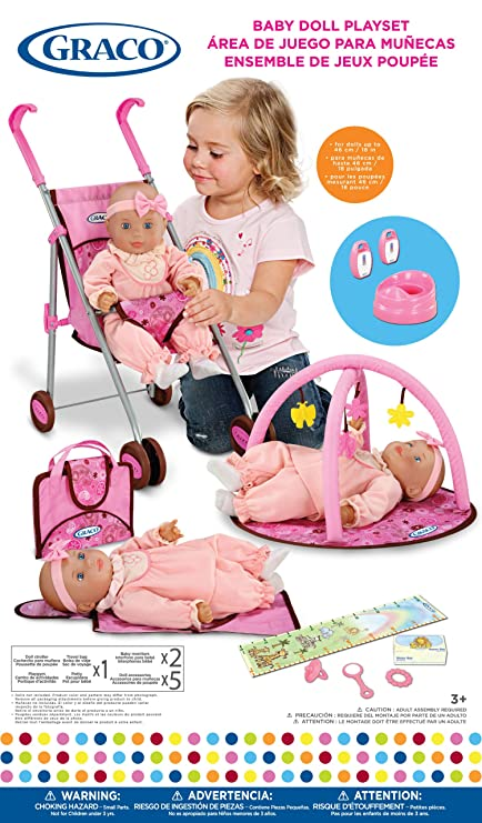 Graco Baby Doll Playset with Stroller, Playgym, Travel Bag, Potty, Baby Monitors