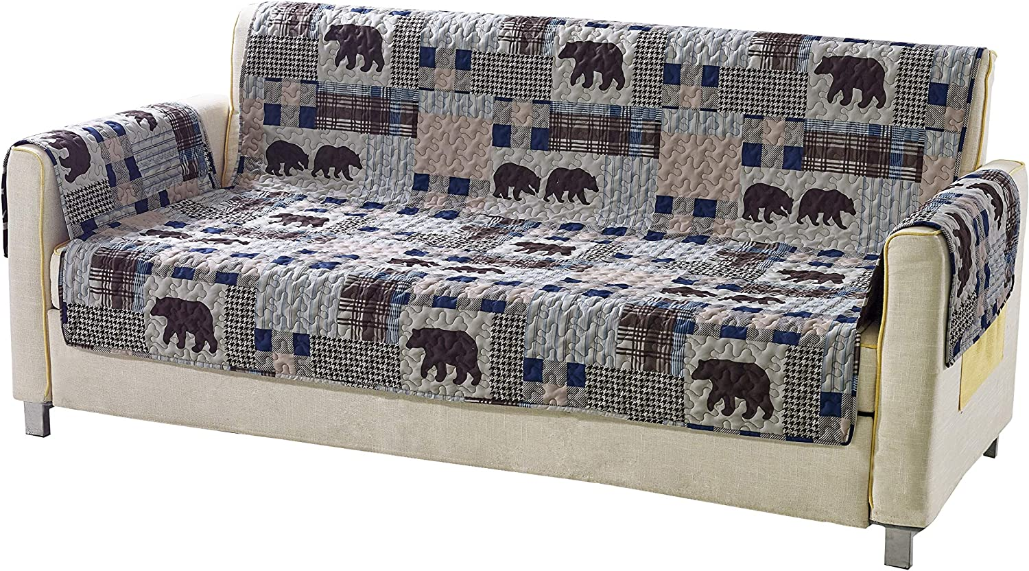 Rustic Modern Farmhouse Cabin Lodge Quilted Couch Sofa Loveseat Armchair Chair Recliner with Patchwork of Grizzly Bears and Buffalo Plaid Check Houndstooth Patterns Beige Blue - Western 2 (Chair)