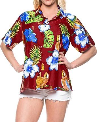 LA LEELA La botón Blusas Mujeres Abajo relajadas Vacaciones Camisa Hawaiana de Manga Corta marrón: Amazon.es: Ropa y accesorios