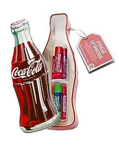 Lip Smacker, Set di 6 lucidalabbra aromatizzati in confezione di latta a forma di bottiglia di Coca Cola