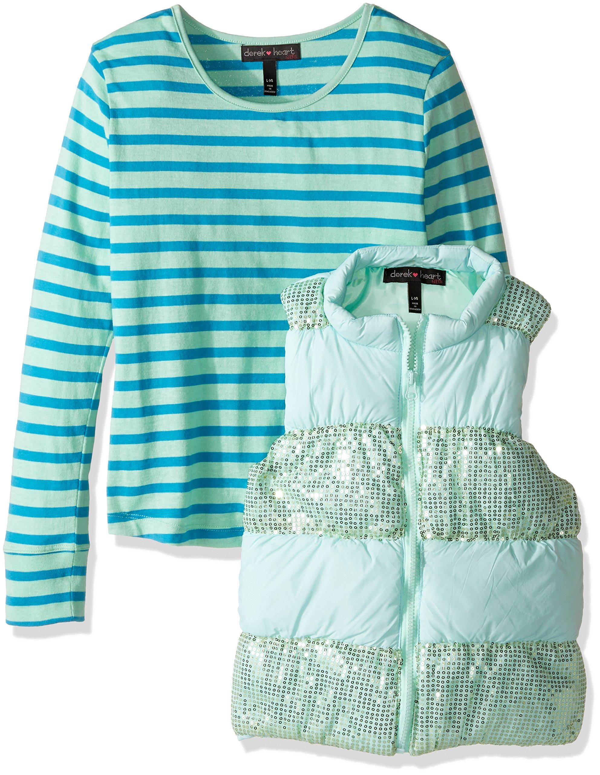 Derek Heart Big Girls' 2 Piece Set Puffy Vest with Sequin Trim and Long Sleeve Stripe T-Shirt, Beach Glass/Hawaiian Ocean, m10/12