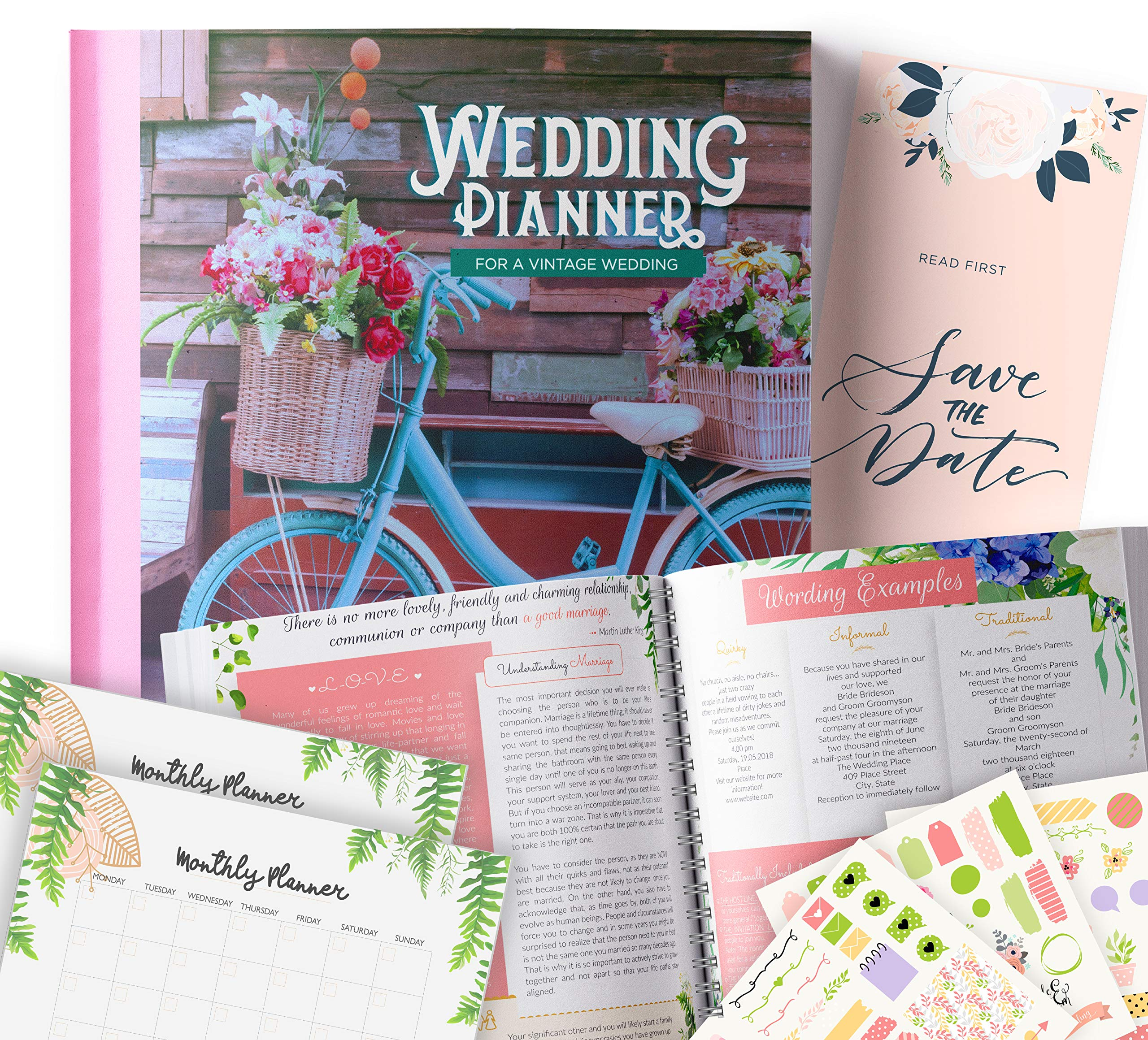 Vintage Wedding Planner | Step-By-Step Binder to Organize Your Dream Day Using Stickers, Photos & Pictures | Journal For Organizing a Wedding by Yourself | Gift for Brides |         by Floating Daydreams