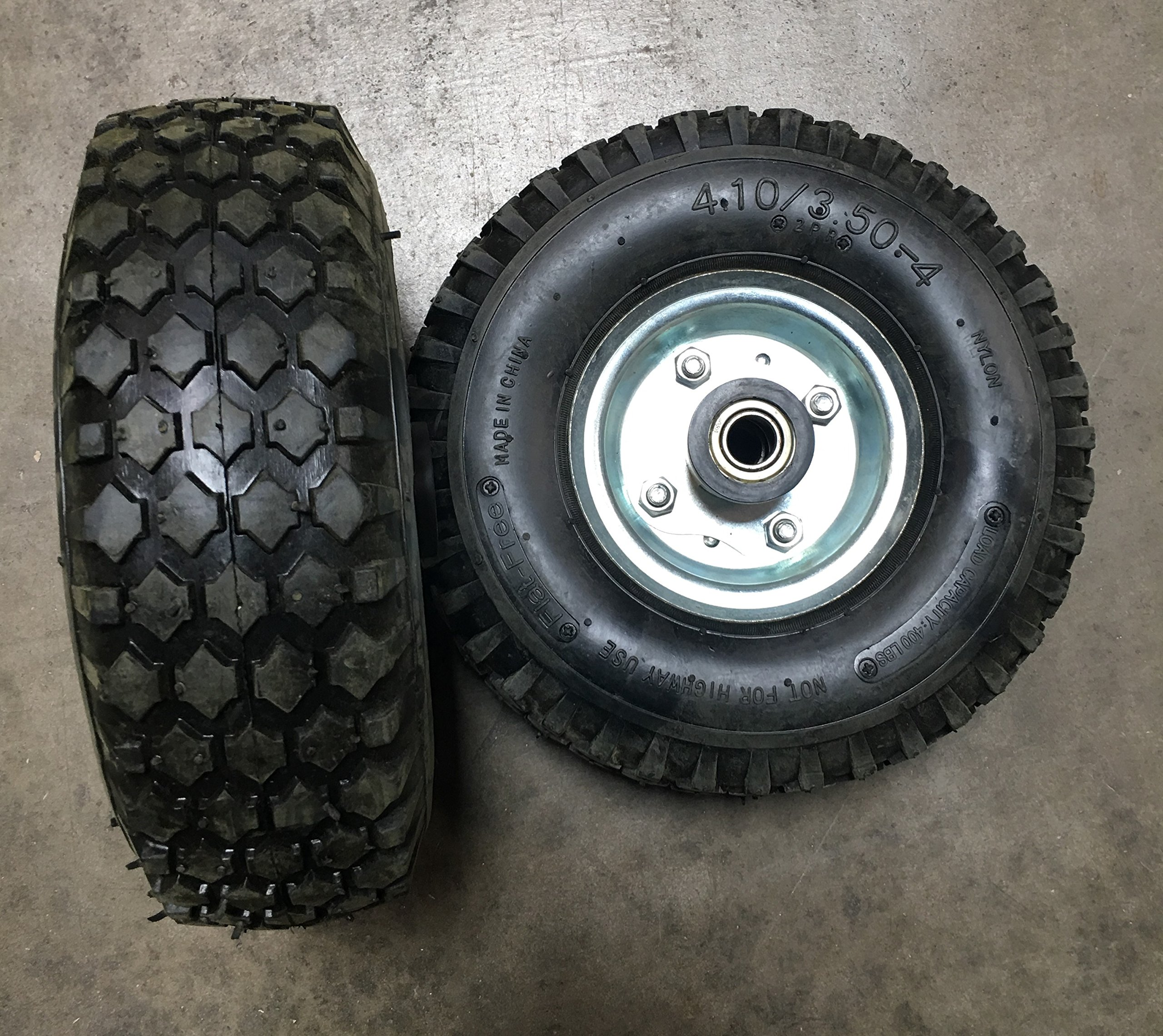 New Pair of 500LB Non Flat Tires, Hand Truck / All-Purpose Utility Tire on Wheel, 2 1/8'' Offset Hub, 5/8'' Bearings by MQT (Image #2)