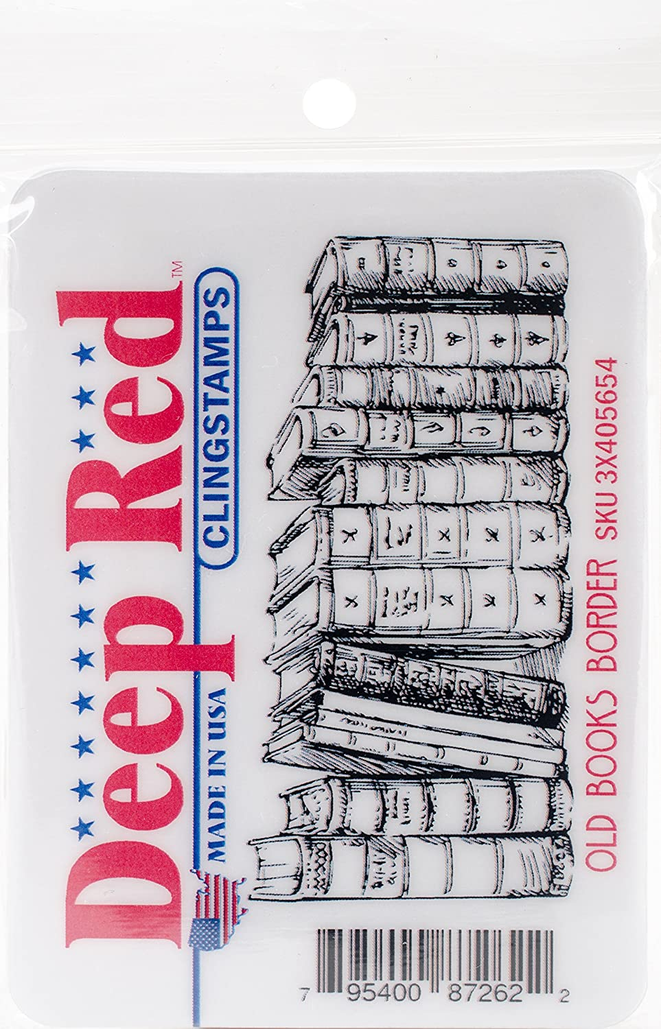 Deep Red Stamps Old Books Border Deep Red Cling Stamp, 3.2X1.5 3.2X1.5 3X405654