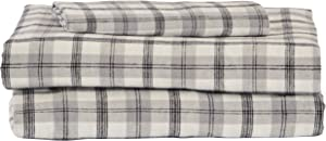 Stone & Beam Rustic 100% Cotton Plaid Flannel Bed Sheet Set, Easy Care, Twin, Black and White