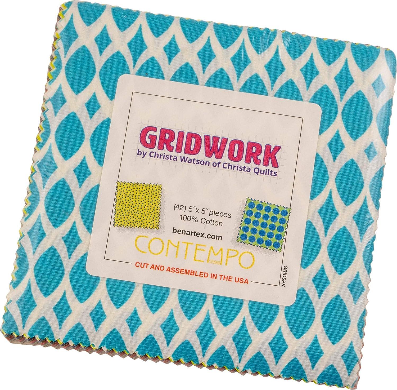 Christa Watson Gridwork 5X5 Pack 42 5-inch Squares Charm Pack Benartex