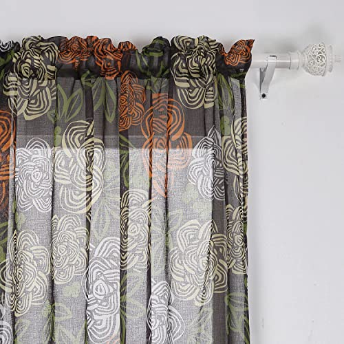Deconovo Printed Curtains Modern Flower Grommets Sheer Panels for Bedroom, 42W x 84L Inch, Red Yellow Blue and Green
