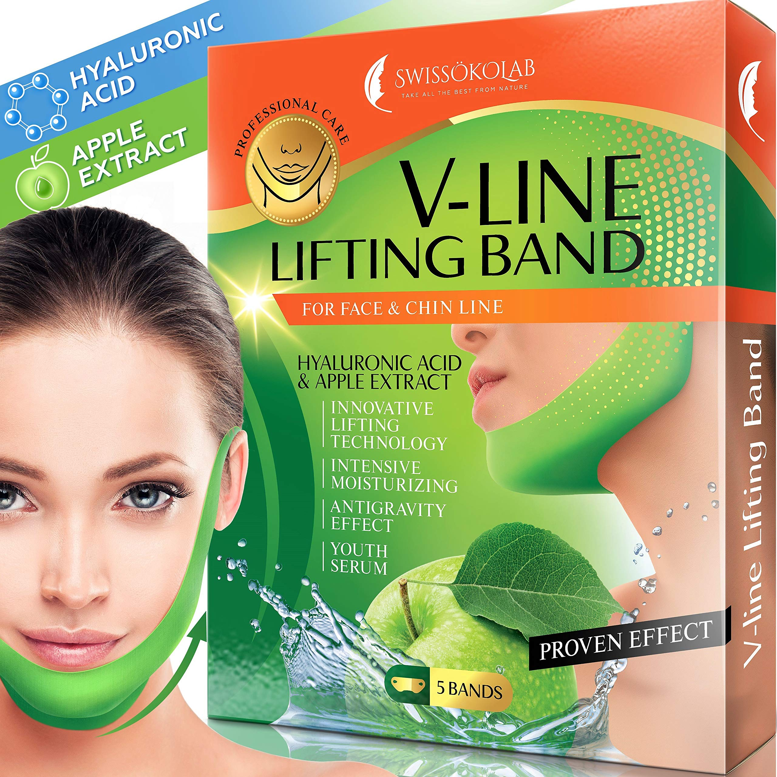 Double Chin Reducer V Shaped Slimming Face Mask Chin Up Patch Face Lift Tape V Line Lifting Mask V Up Contour Tightening Firming Moisturizing Chin Neck V Shape Mask 5 PCS by SWISSÖKOLAB