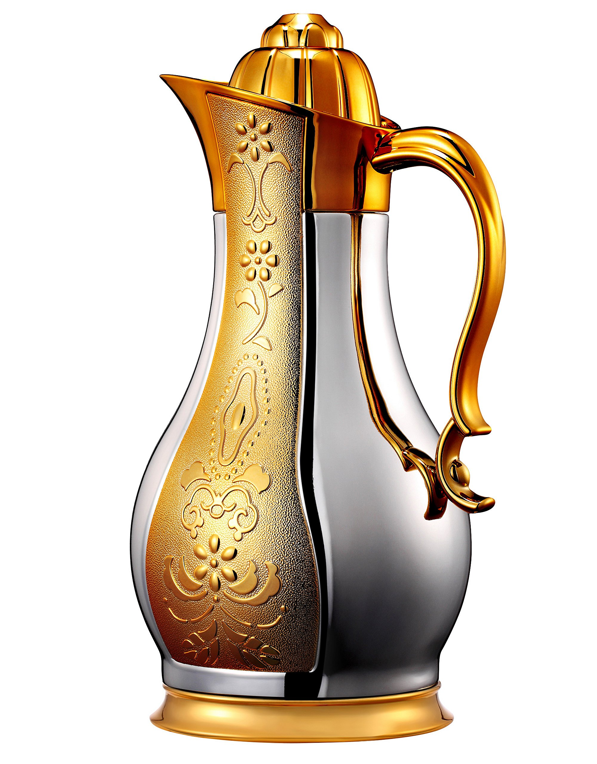 Thermal Carafe by Sumerflos | Carafe, Thermos, Coffee Carafe | 34 Oz / 1 Liter | Body with Sexy Shape | Good Gift Choice (Silver With Gulch Gold)