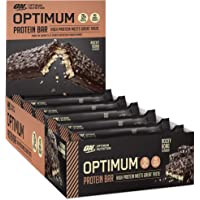 Optimum Nutrition Optimum Protein Bar by 10 X 60g Protein Bars, Rocky Road Flavour with Whey Protein Isolate & No Added Sugar, 10 Bars