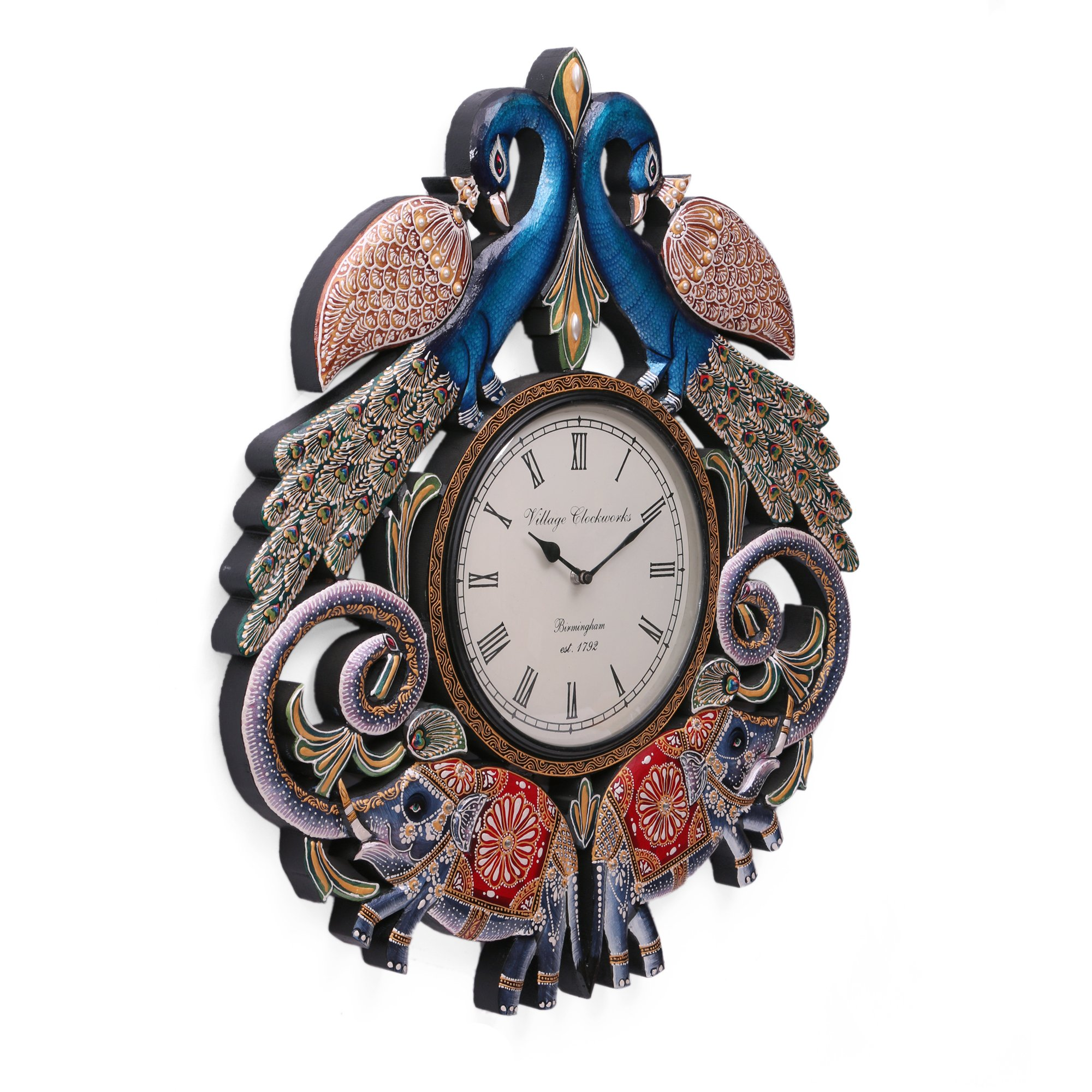 CraftVatika Handmade Wall Clock - 2.1 FT Large Peacock Elephant Hand Carved Painted Wooden Clock Wall Sculpture by CraftVatika (Image #3)