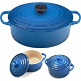 Le Creuset Signature Marseille Blue Enameled Cast Iron 5 Quart Oval French Oven with 2 Free Stoneware Cocottes