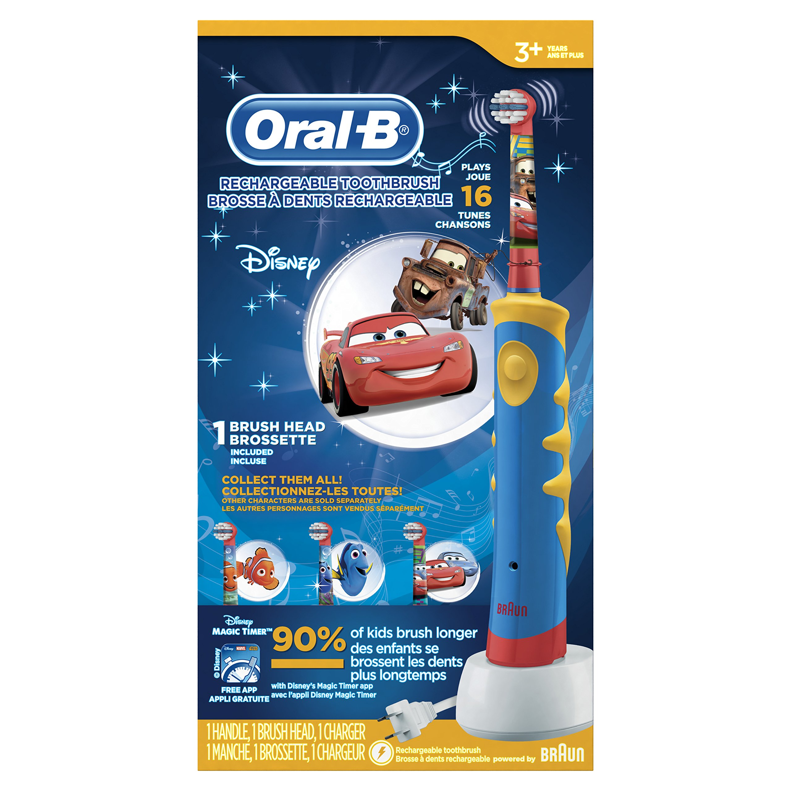 Oral-B Kid's Rechargeable Electric Toothbrush featuring Disney Character,For Children 3+ Years, Character May Vary with Pixars Car's or Dory, 1 pack