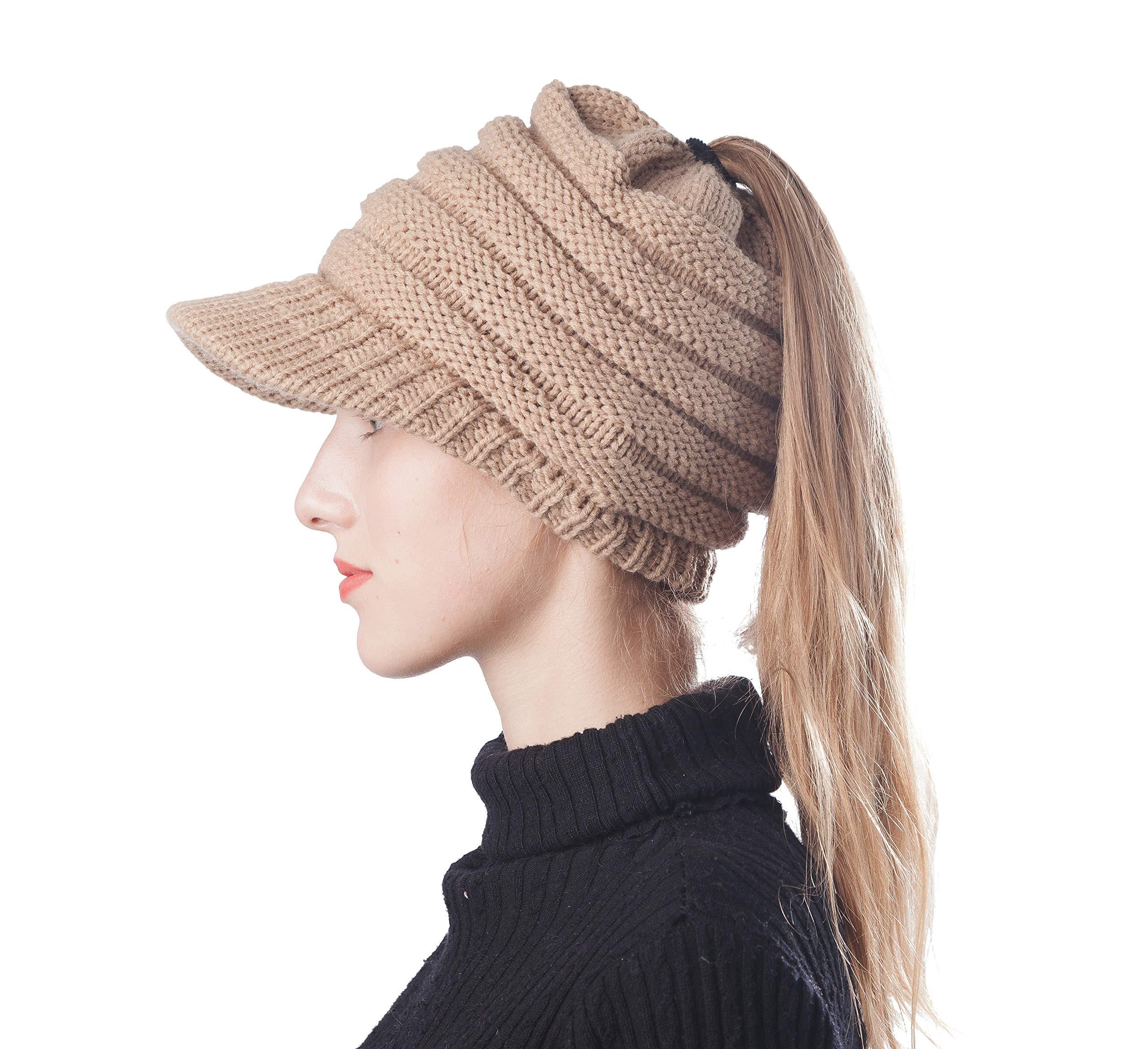 Scrub Green Beanie Hat Soft High Bun PonytailStretch Cable Knit Messy Winter Women Warm Visor Beanie Cap (Visor Camel-2)