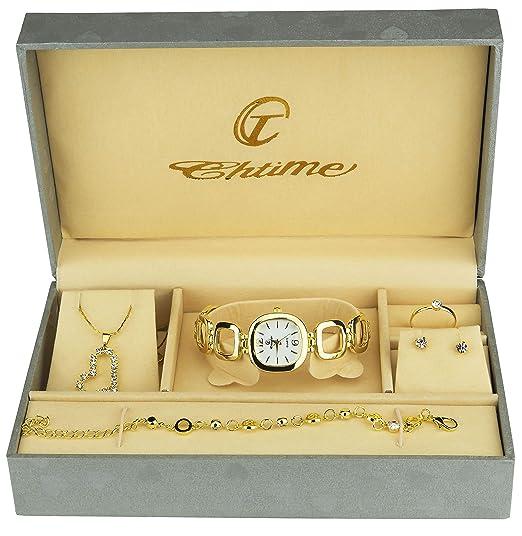7c816d1637133 Coffret cadeau Montre Femme - Parure de Bijoux- Collier-Bague- Boucles d'