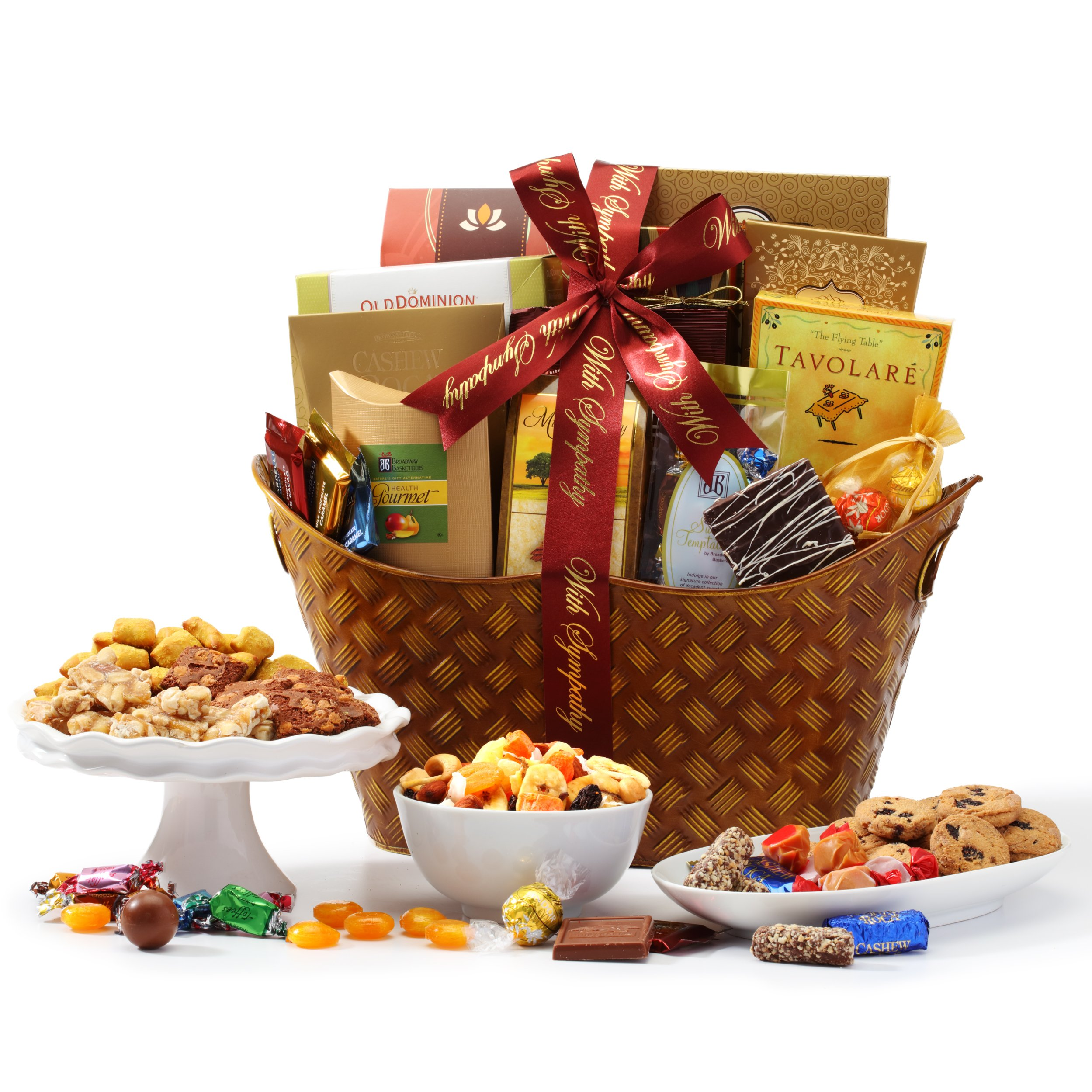 Broadway Basketeers Classic Sympathy Gift Basket for loss of mother, father or friend - Send A Sympathy Gift for Loss of a Loved One with Prime Delivery