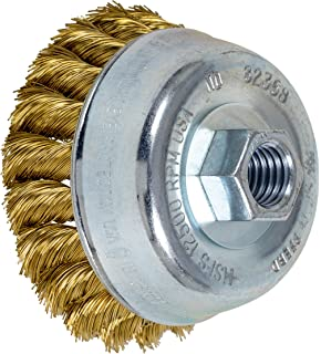 2-3//4 Diameter 5//8-11 Thread 0.014 Wire Size Threaded Hole 14000 Maximum RPM Carbon Steel Bristles PFERD 82219 Single Row Power Knot Wire Cup Brush with Standard Twist and External Nut 18 Knots