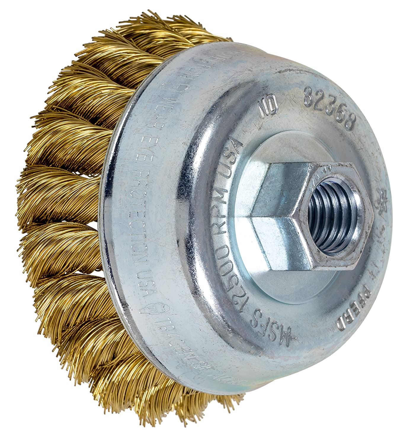 PFERD 82368 Standard Twist Knot Cup Brush, Brass Wire, 3-1/2' Diameter, 5/8-11 External Thread, 0.014 Wire Size, 7/8' Trim Length, 12500 RPM, POP Packaging 3-1/2 Diameter 7/8 Trim Length PFERD Inc.