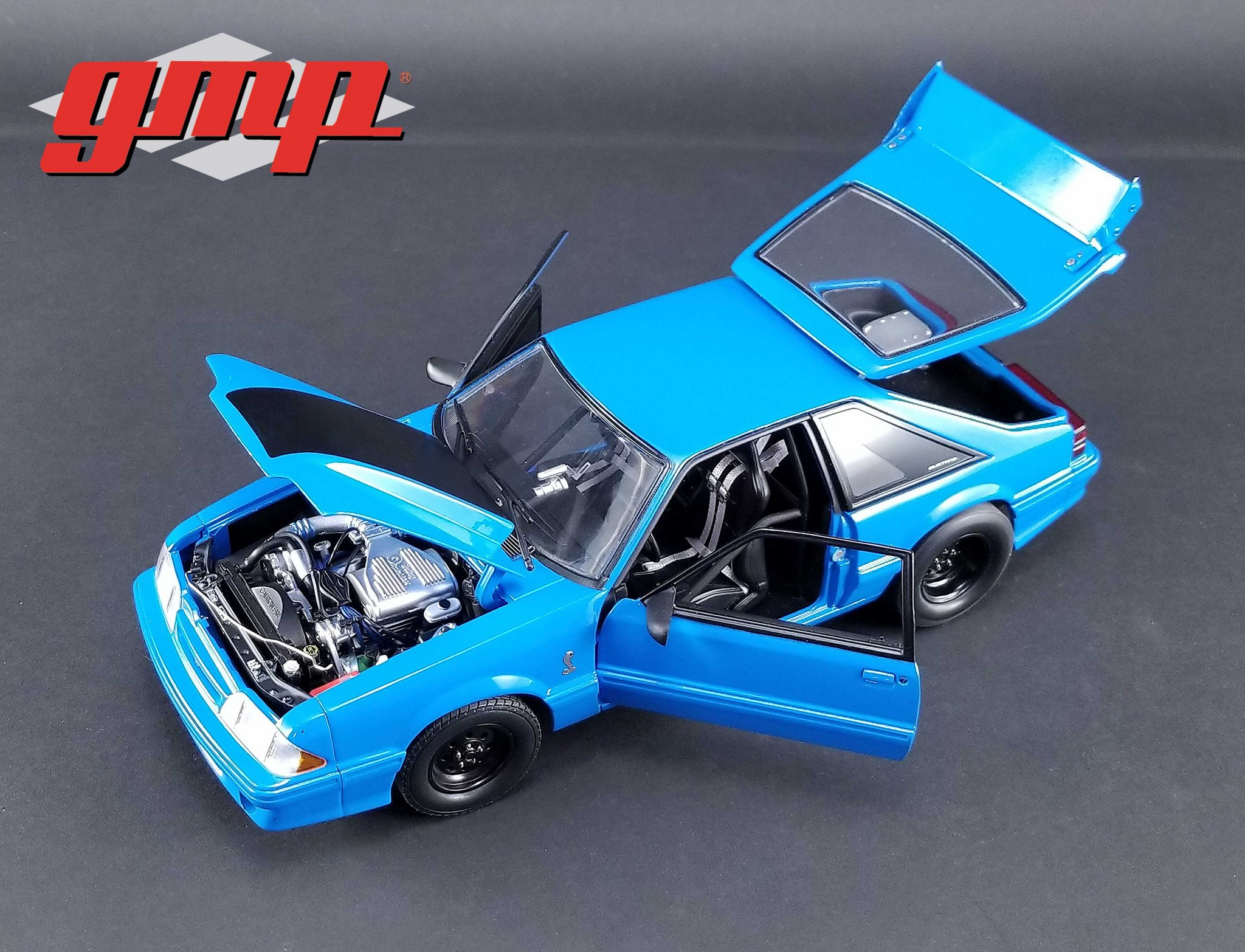 1993 Ford Mustang Cobra Grabber Blue 1320 Drag Kings ''King Snake'' Limited Edition to 516 pieces Worldwide 1/18 Diecast Model Car by GMP 18881