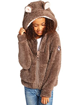 Begummy 9 Veste Ans Ours 10 Fluffy Capuche Fille Taupe FnrqxO6Fw