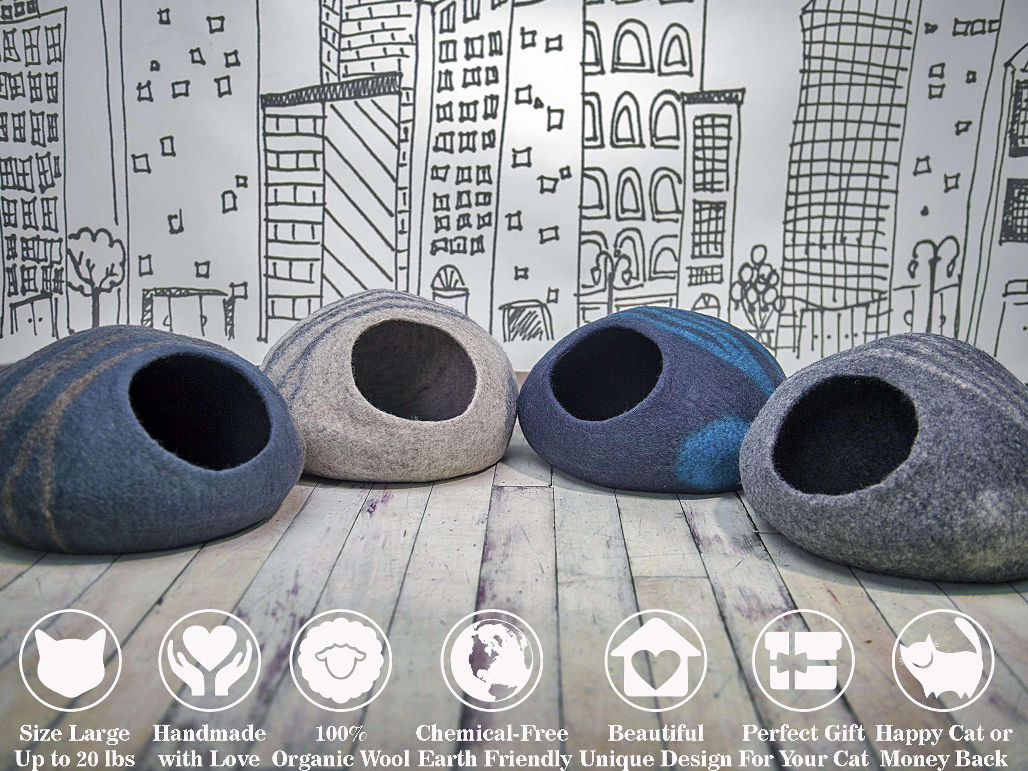 MEOWFIA Premium Felt Cat Cave Bed (Large) - Eco-Friendly 100% Merino Wool Cat Bed - Handmade - Soft and Comfy Beds for Large Cats and Kittens(Dark Grey) by MEOWFIA (Image #6)