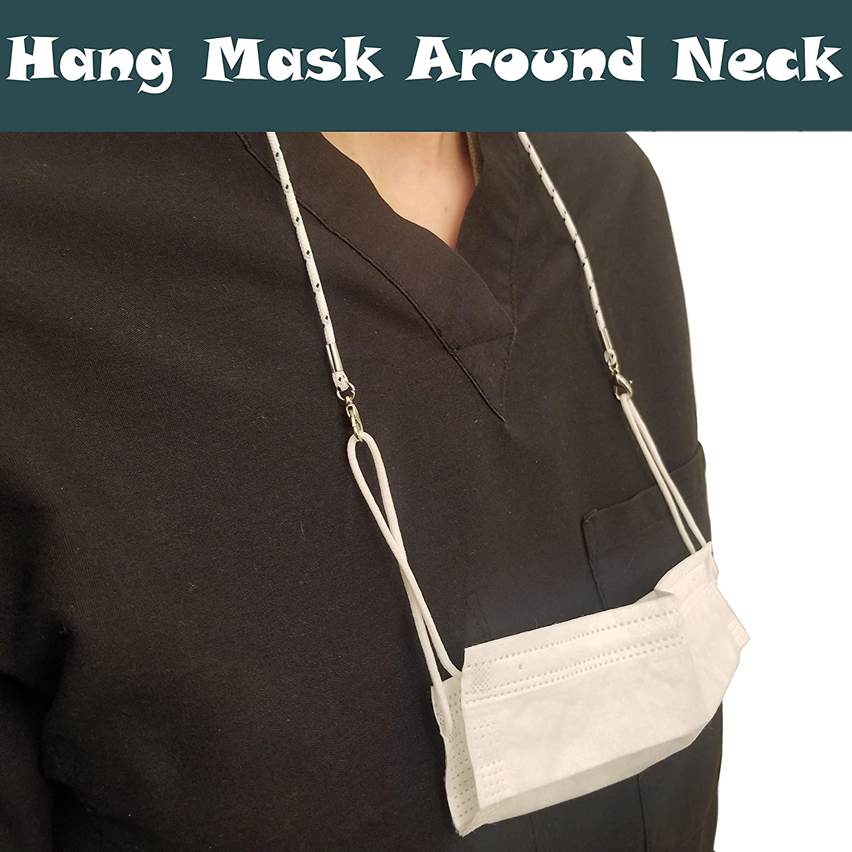 CAPTN HOOK Face Mask Lanyards for Kids Women Men Adjustable Mask Lanyard with Clips 1, Black Mask Holder Mask Chain Mask Strap Glasses Strap Holder Chain Mask Necklace