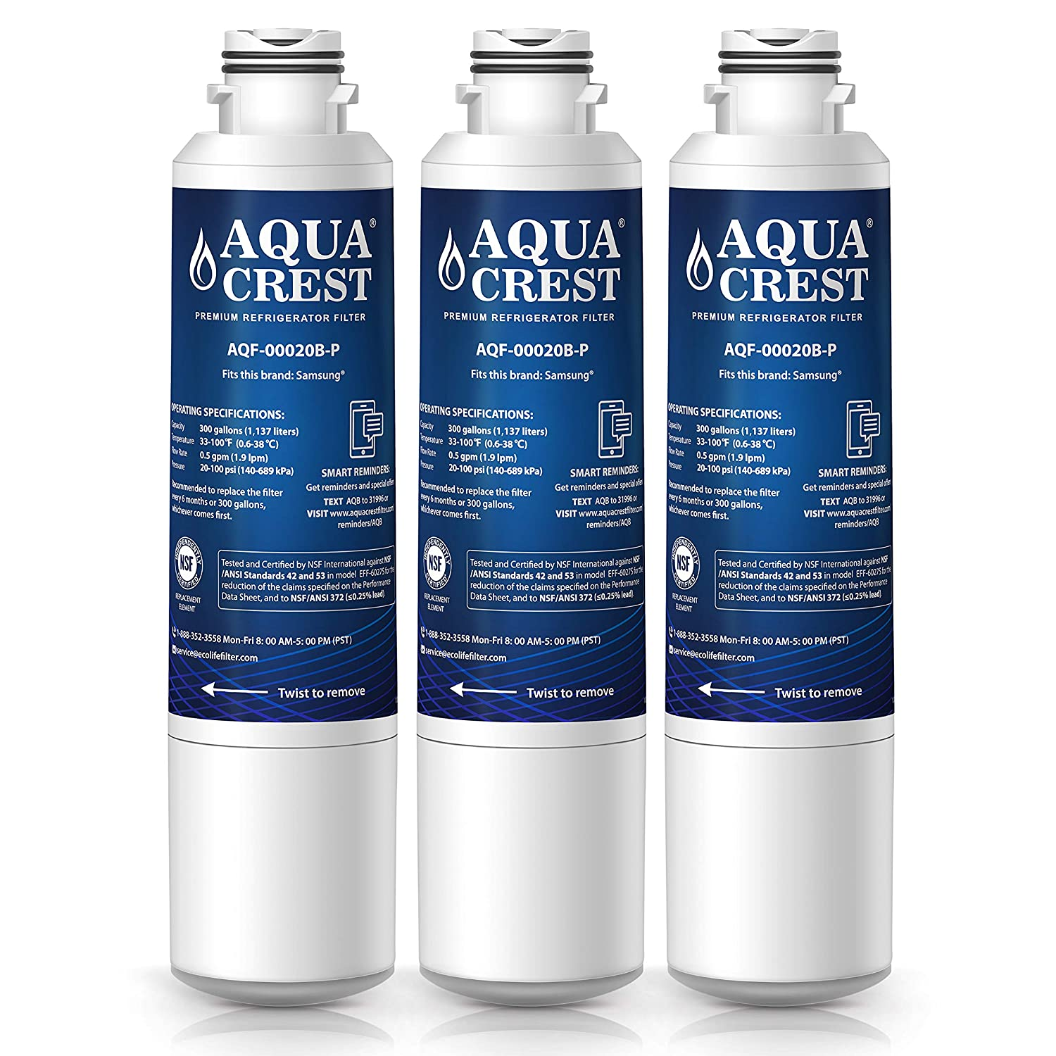 AQUACREST DA29-00020B Replacement Refrigerator Water Filter, Compatible with Samsung DA29-00020B, DA29-00020A, HAF-CIN/EXP, 46-9101 Water Filter (Pack of 3) Aqua Crest AQF-DA29-00020B-3