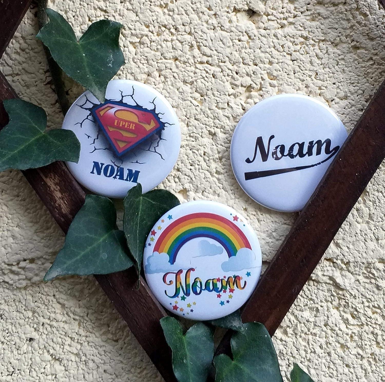 Grand badge//magnet//miroir personnalis/é Pr/énom de 56 mm 3 choix de fond /à choisir pour homme//femme//fille ou gar/çon