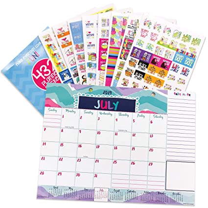 Reminder Binder 2019-2020 Monthly Desk Calendar + Event Stickers Variety Set (Total of 432 Stickers) with Tear-Off Lists, Scheduling Tools, Bill Pay ...