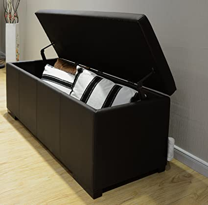 Charmant Greatime OS001BK Storage Ottoman, X Large, Black Faux Leather, Multiple  Color Options
