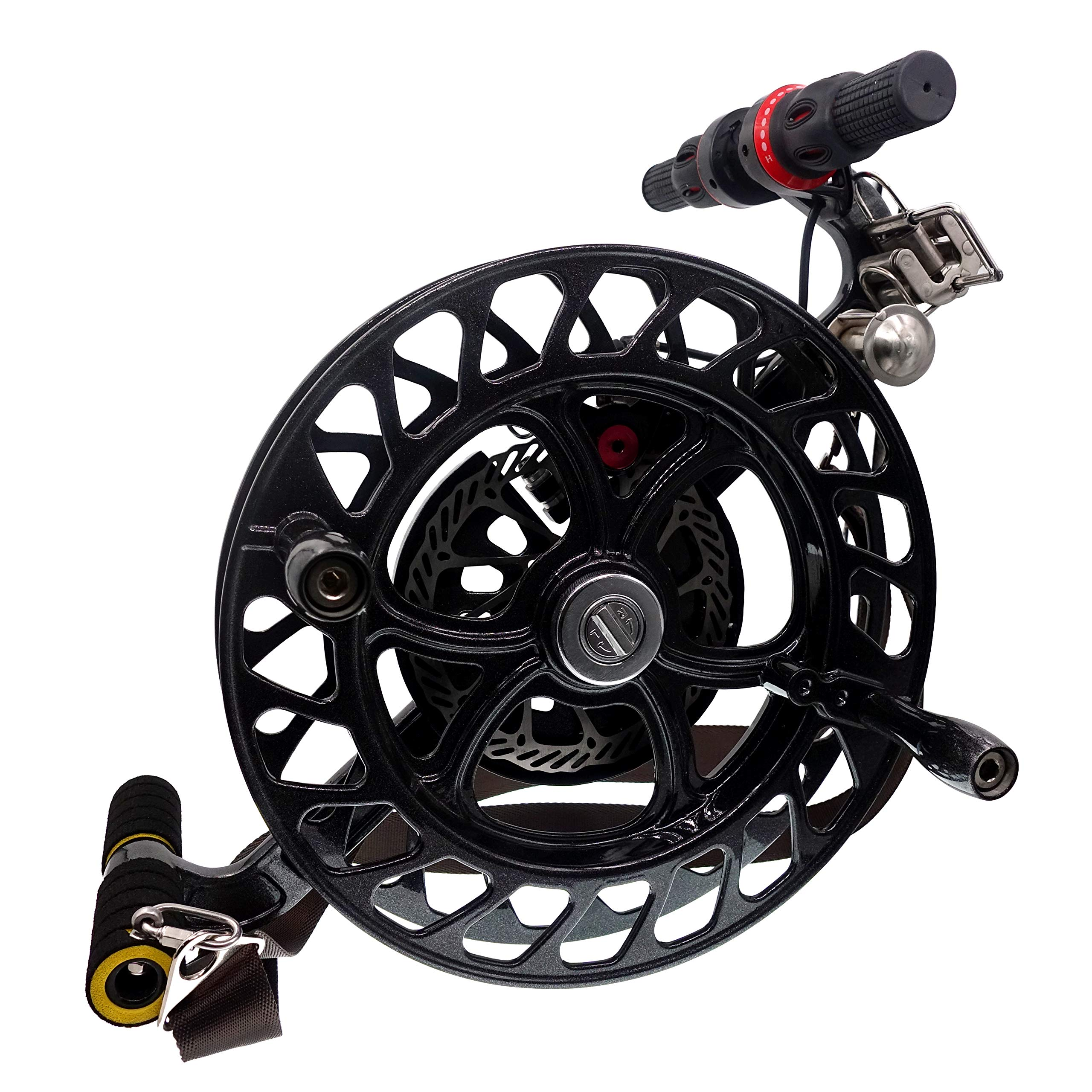 emma kites 12.6'' Black Kite Winder Reel with Disc Brake Shoulder Strap 7 Rollers for Kite Line in and Out by emma kites (Image #2)