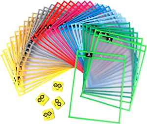 """Dry Erase Pockets Reusable Sleeves - 30 Pack, Heavy Duty Oversized 10x14"""" Clear Plastic Sheet Paper Protectors, 10 Assorted Colors, Teacher Supplies for Classroom, School & Homeschool Organization"""