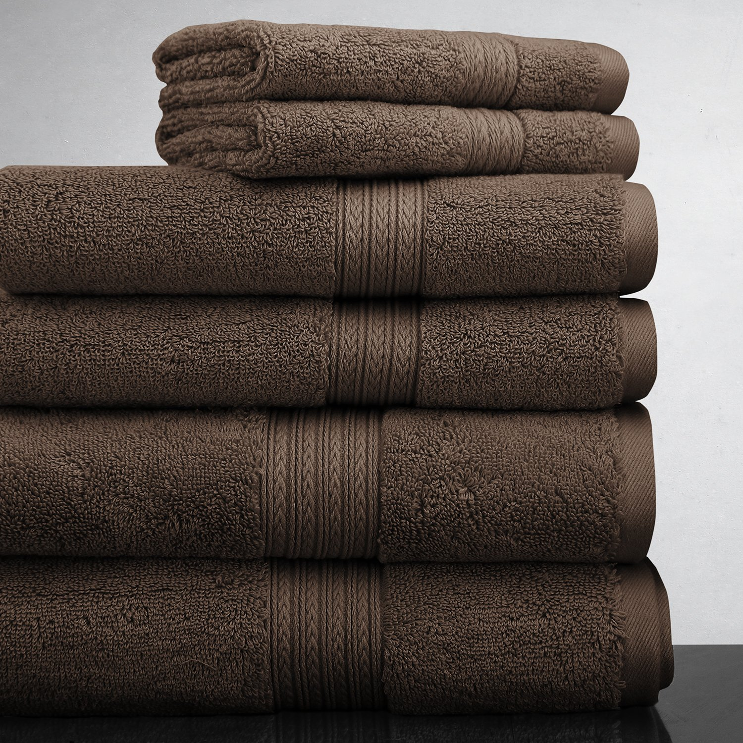Luxor Linens New Arrival Bliss Collection Egyptian Cotton Classic 6-Piece Towel Set - Chocolate - with Gift Packaging
