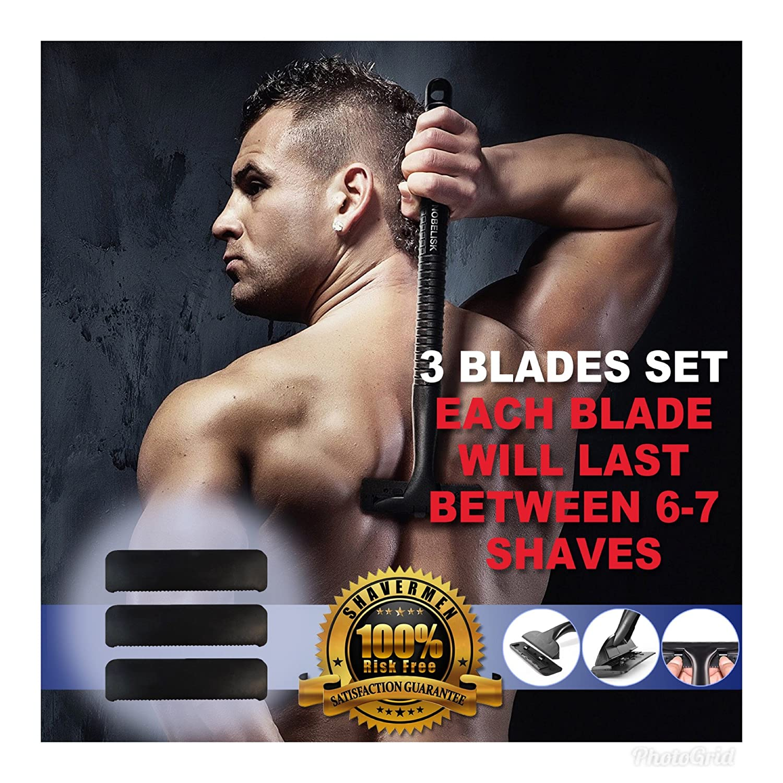 Back Shaver 3 Blade Set Replacement Head for Back Razor for Men by Shavermen