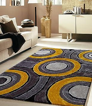 RUGADDICTION Hermosa Alfombra Color Gris y Amarillo hecha a mano estilo moderno suave y lujosa ,