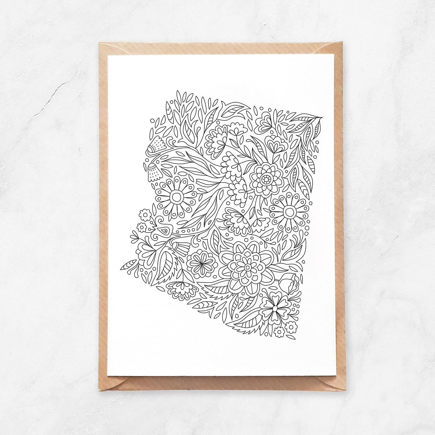 5pcs, Adult Coloring Arizona Postcard, US State Map Postcard Set, Grand Canyon Natural Landmark Note Card, Floral Map of United States USA, A6