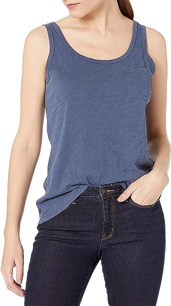 Marca Amazon - Amazon Brand - Goodthreads - Camiseta de tirantes de bolsillo de algodón para mujer: Amazon.es: Ropa y accesorios