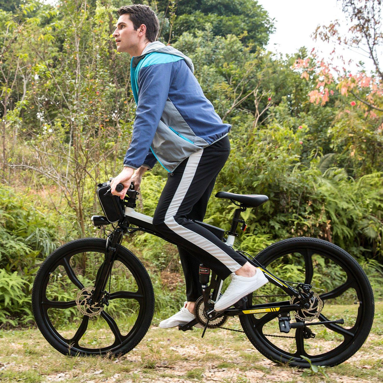 AIMADO Bicicletas Electricas de Montaña PLEGABLE, E-bike MTB 250W 30 km/h, Aluminio, Batería de Litio 36V, Shimano 21, Ruedas Grandes de 26 Pulgadas con Luz ...