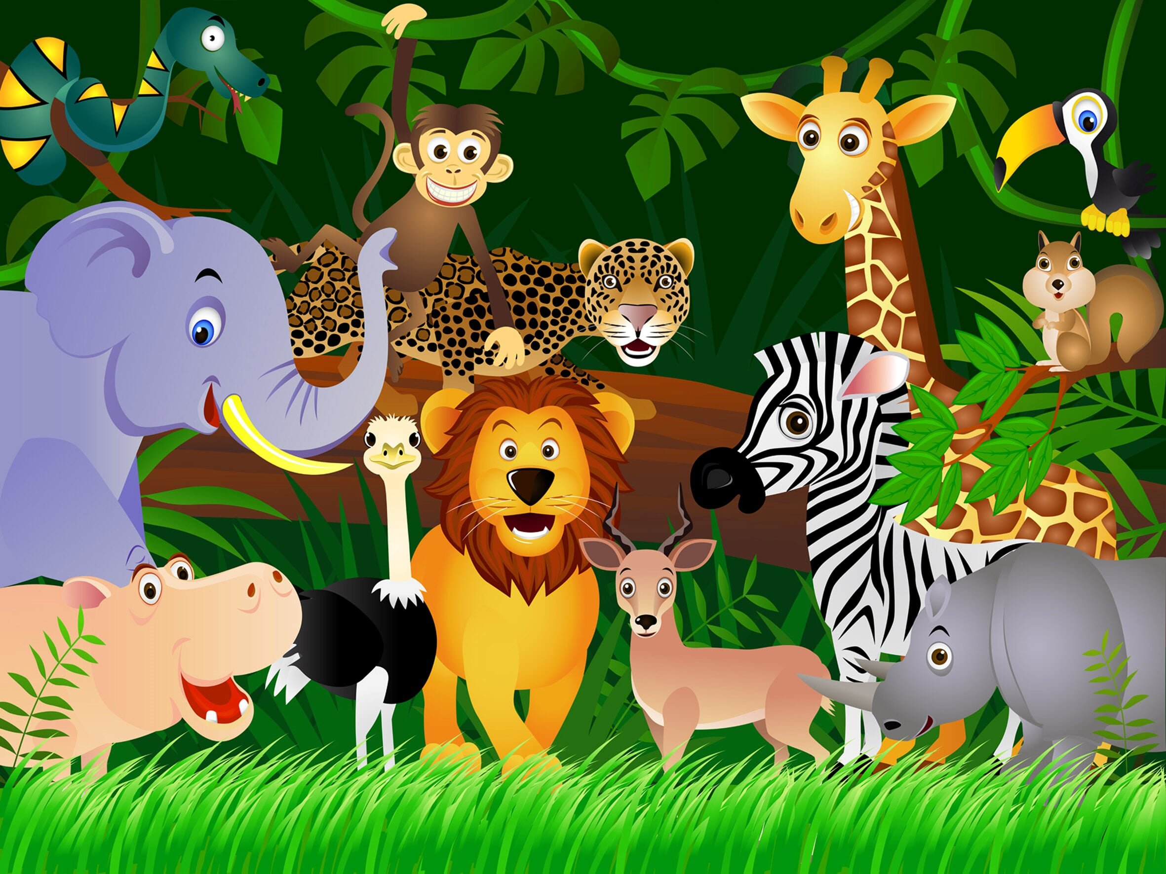 Cartoon Jungle Animals Wall Mural Non-Woven Photo Wallpaper MADE in EUROPE for Kids Bedroom Playroom, 11'10''(H) x 8'10''(V) (360x270 cm)