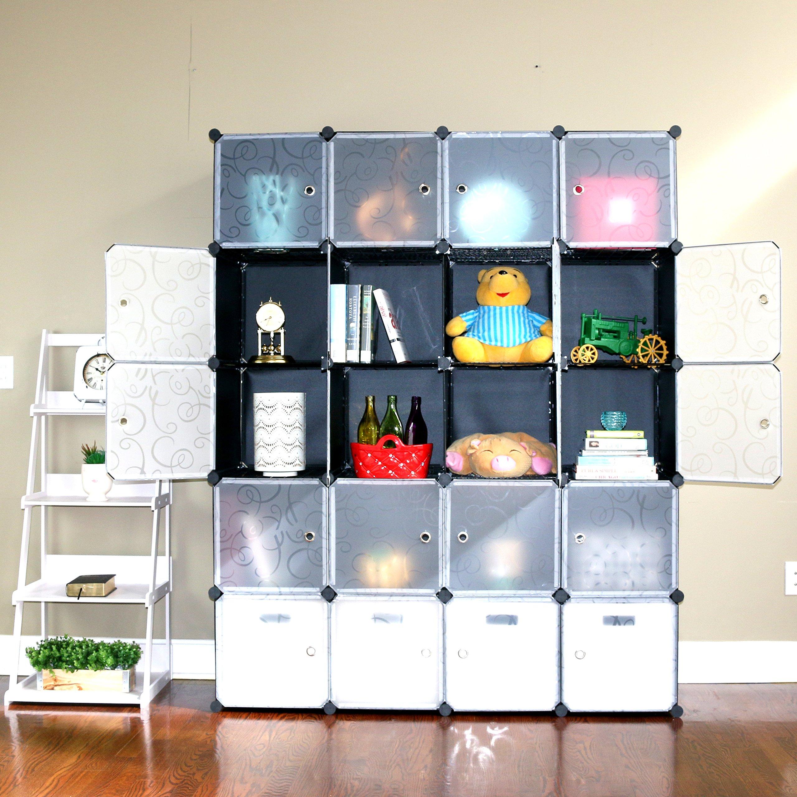UNICOO - Multi Use DIY 20 Cube Organizer, Bookcase, Storage Cabinet, Wardrobe Closet - (Regular Cube, Black)
