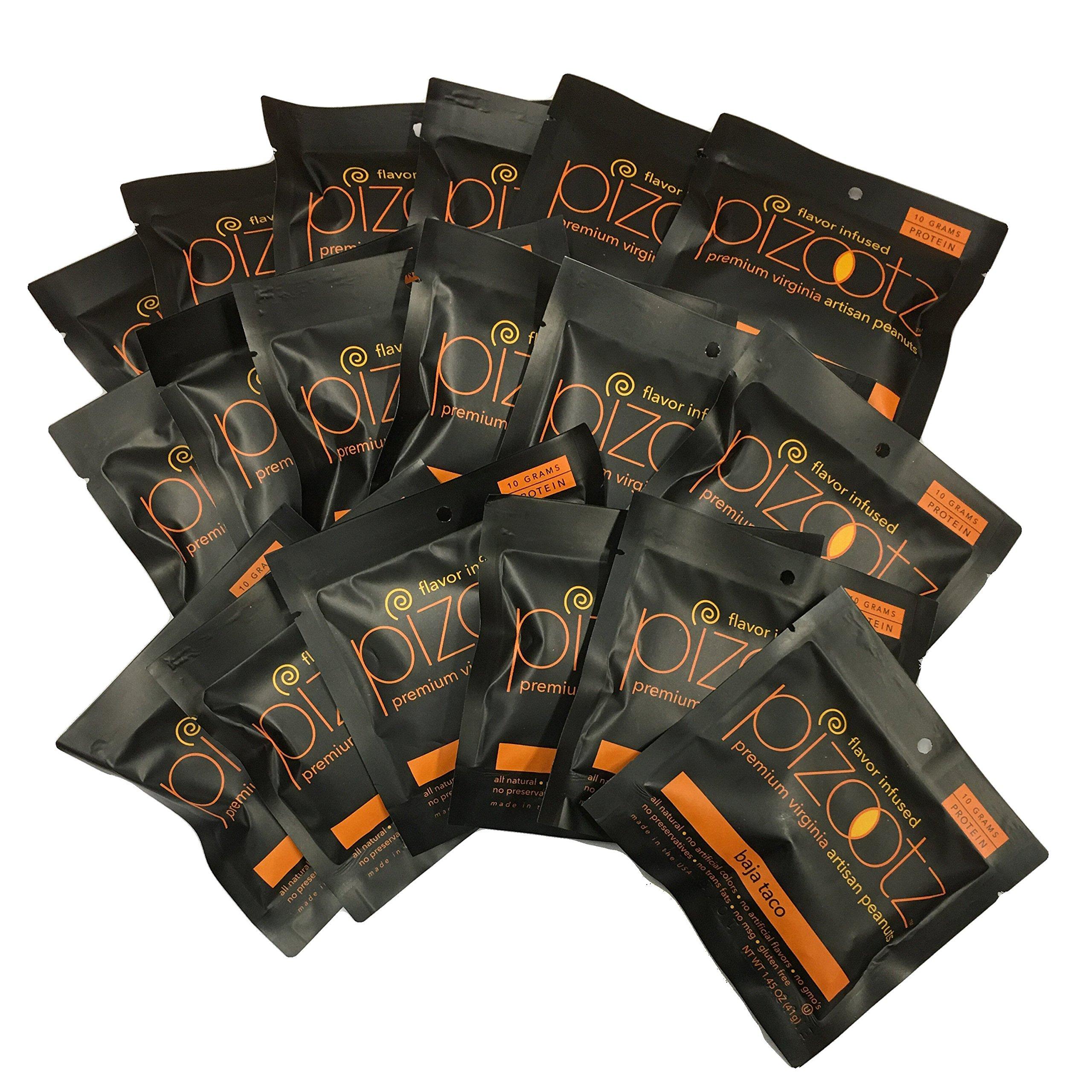 Pizootz Value Pack-Baja Taco Flavor Infused Peanuts-Premium Virginia Gourmet Artisan Vegan Peanuts - (18) 1.45 oz bags