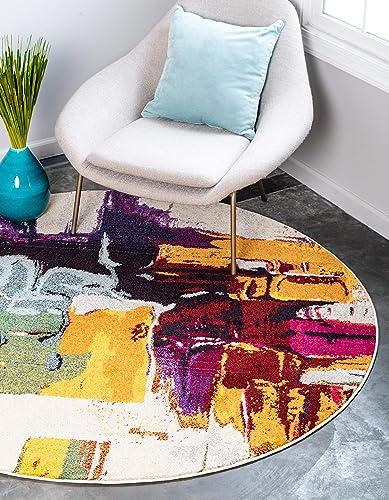 Unique Loom Estrella Collection Colorful Abstract Beige Round Rug 8 0 x 8 0
